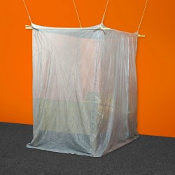 Single Box Canopy Silver-Tulle