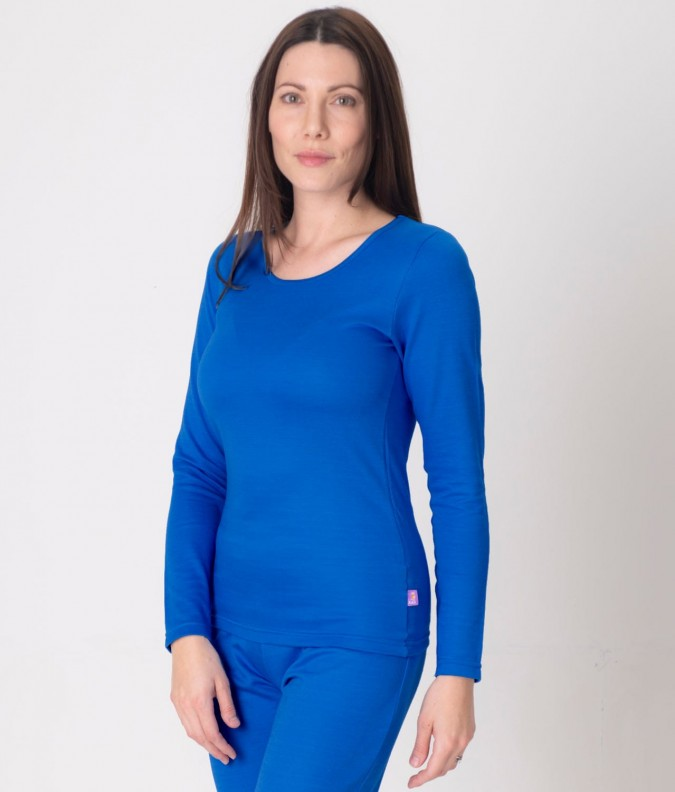 EMF Protective Womens Long Sleeved Vest (Bright Blue)