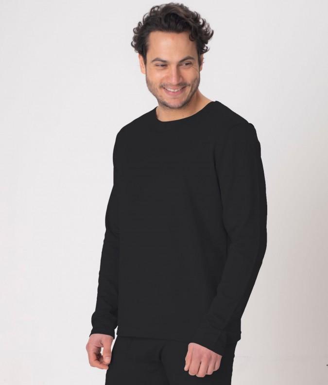 EMF Protective Mens Long Sleeved Vest (Black)
