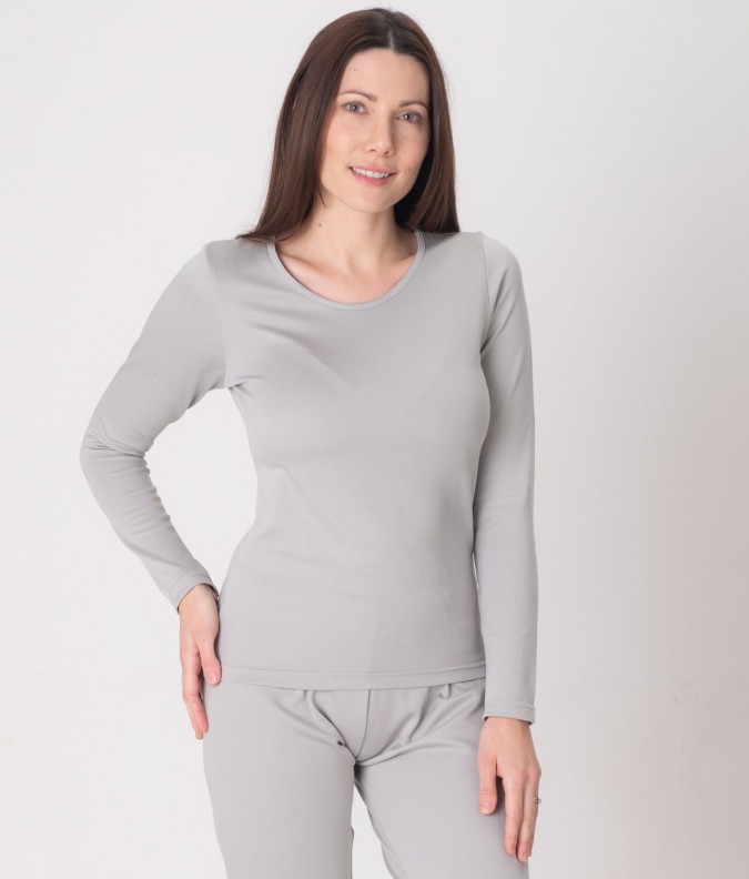 EMF Protective Womens Long Sleeved Vest (Grey)