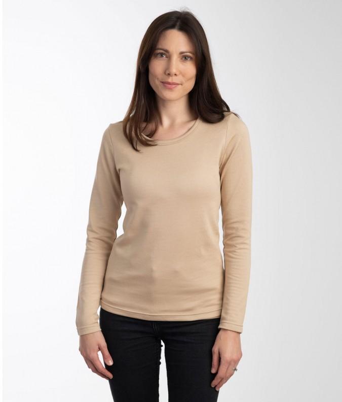 EMF Protective Womens Long Sleeved Vest (Beige)